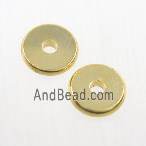 copper spacer beads, heishi, unfade, gold plated