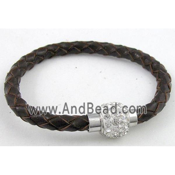 bracelet with leather cord, rhinestone Magnetic Clasp, coffee (FGBR287-5MM) approx 5mm dia, 21cm long