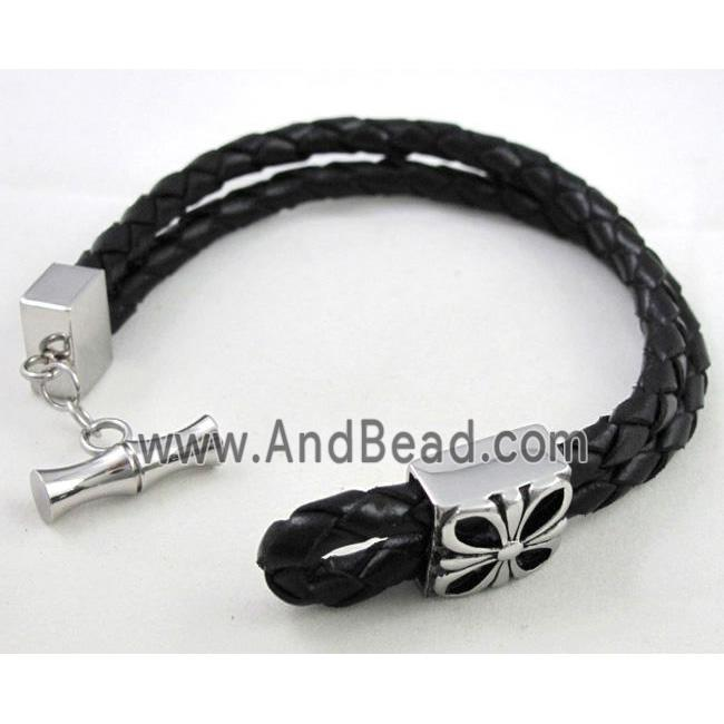 leather bracelet with stainless steel, handmade, mixed (FGBR294) approx 10mm wide, 20cm long
