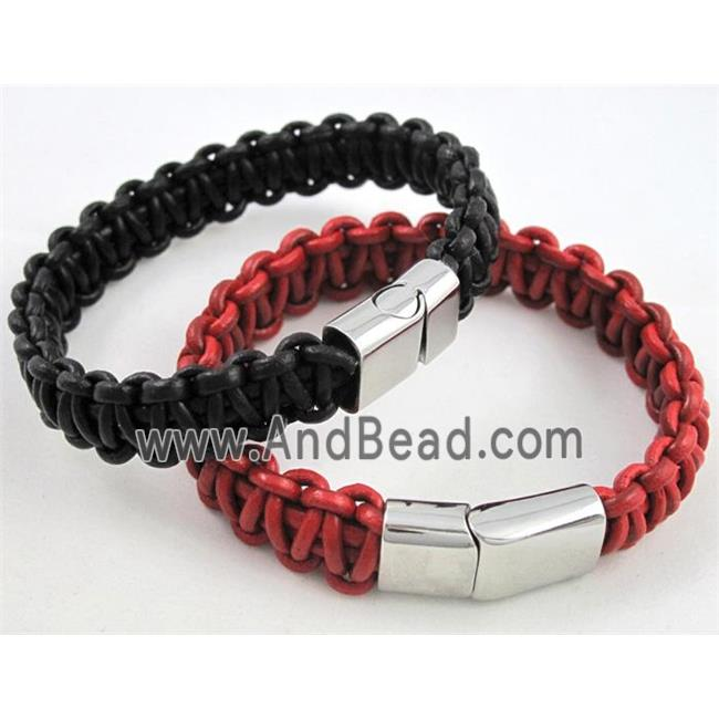 fashion bracelet with leather, stainless steel, handmade, mixed (FGBR299) approx 13mm wide, 20cm long