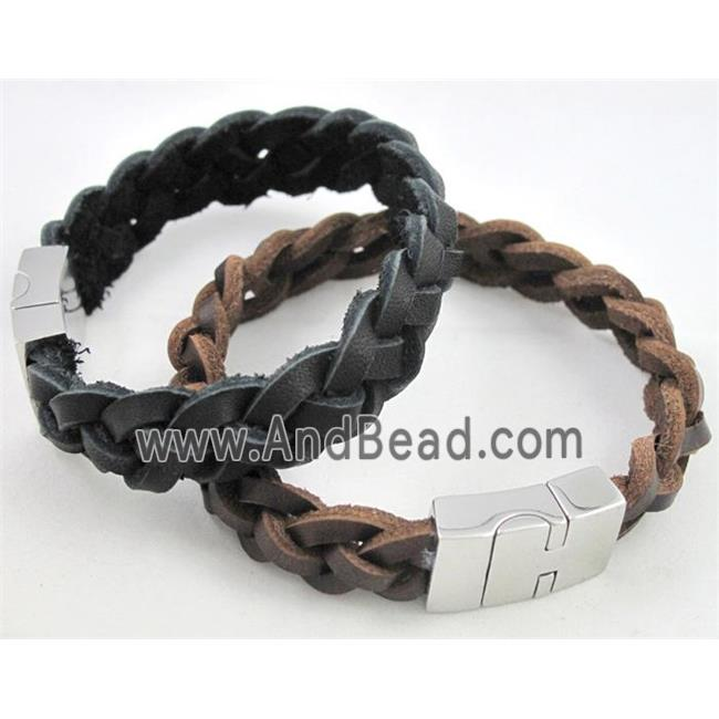 fashion bracelet with leather, stainless steel, handmade, mixed (FGBR300) approx 14mm wide, 20cm long