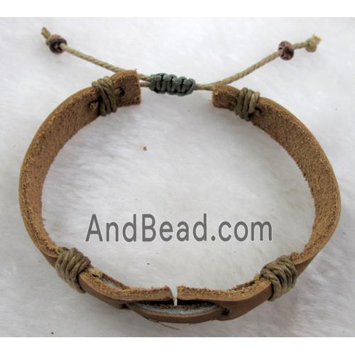 "Genuine Leather Bracelet, Mix (FGLBBR39-03) 13mm wide, 8"" long"