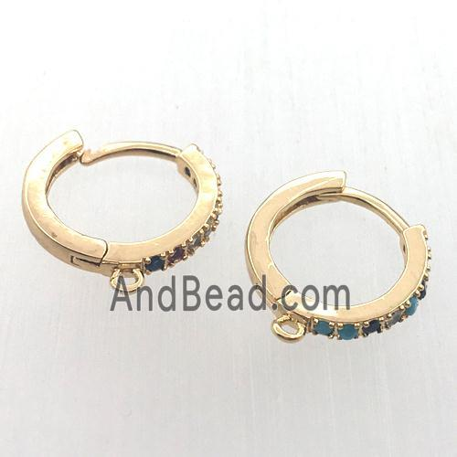 copper huggie earring hoop pave zircon with loop, gold plated (FN11319) approx 14mm dia