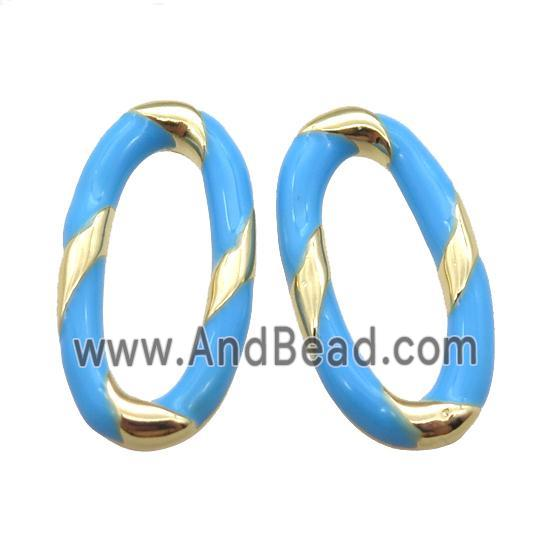 copper oval connector with blue Enameling, gold plated