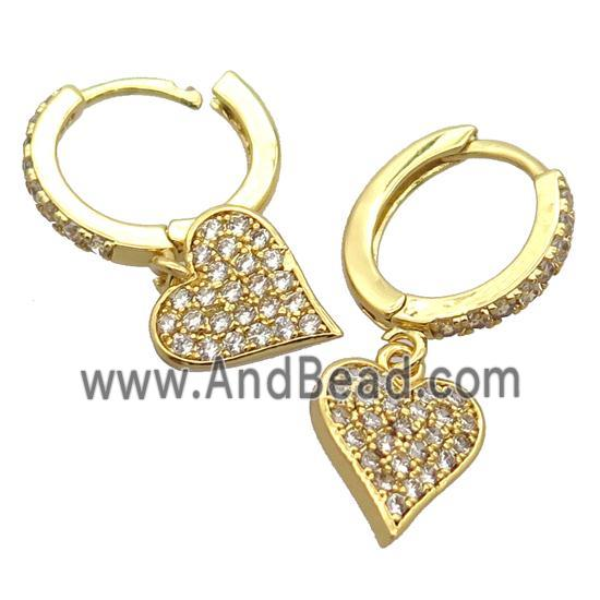 copper Hoop Earrings pave zircon with heart, gold plated (FN20409) approx 10-11mm, 14mm dia