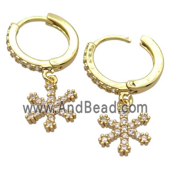 copper Hoop Earrings pave zircon with snowflake, gold plated (FN20430) approx 10mm, 14mm dia