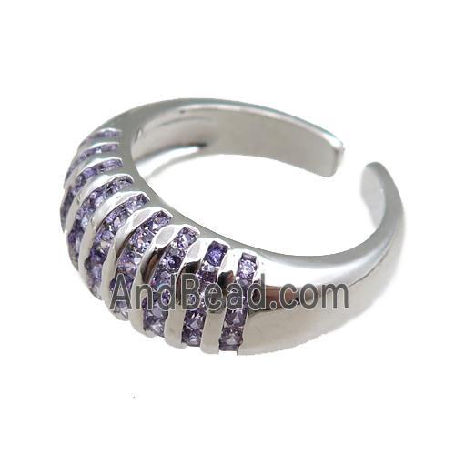 copper Rings pave purple zircon, adjustable, platinum plated