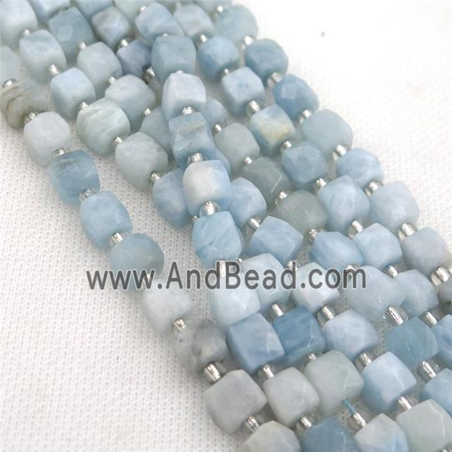 blue Aquamarine Beads, faceted cube