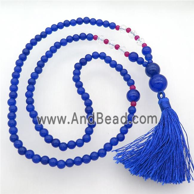 blue Malaysia Jade Necklaces with tassel (GB13025) approx 6-14mm, 63cm long