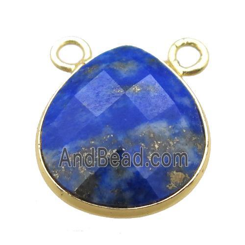 blue Lapis teardrop pendant with 2loops, gold plated