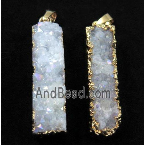 druzy quartz pendant, rectangle, white AB-color, gold plated