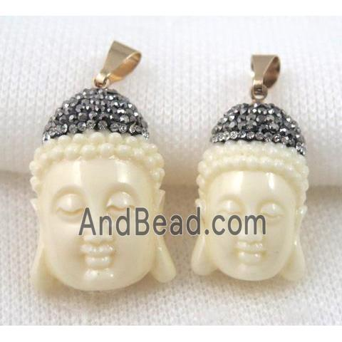 Resin buddha pendant pave rhinestone ivory white gmpda4986 s you may also like mozeypictures Images