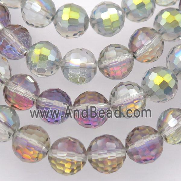 Chinese Crystal Glass Beads, faceted round, green purple