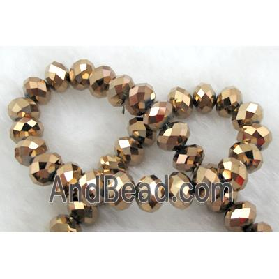 Chinese Crystal Beads, Faceted Rondelle, red copper plated