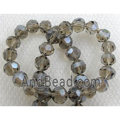 Crystal Glass, Faceted Round Beads,grey