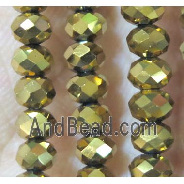 chinese crystal bead, faceted rondelle, gold plated