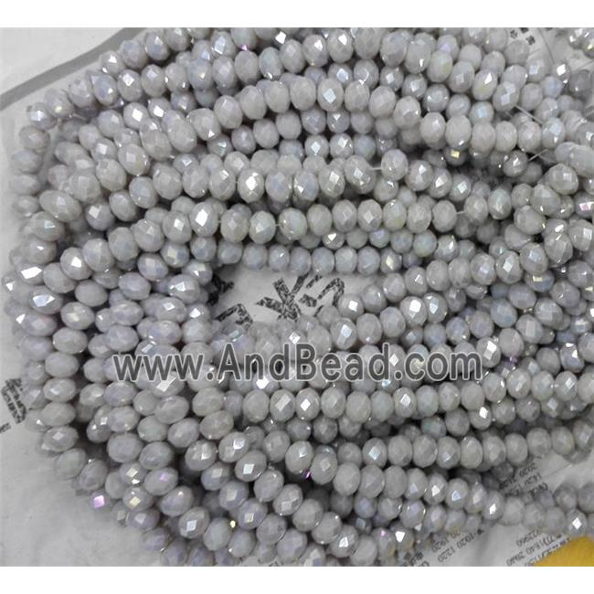 Chinese crystal bead, faceted rondelle, grey AB color