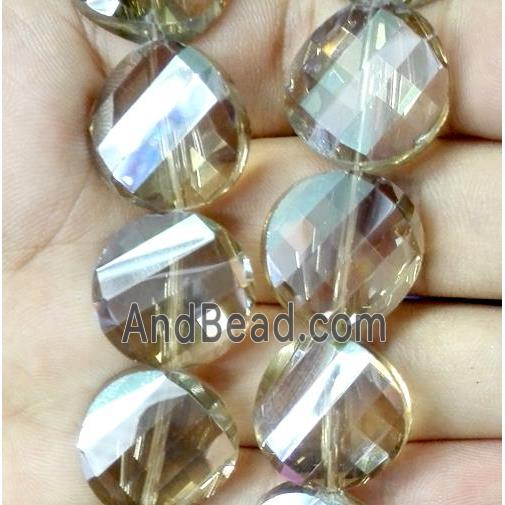 chinese crystal bead, faceted, twist round