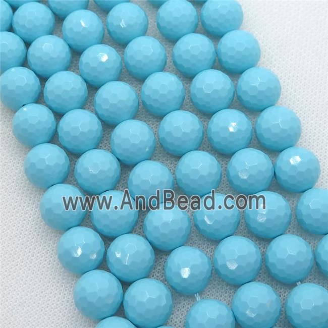 blue Synthetic Turquoiuse beads, faceted round (PSRN140-10MM) approx 10mm dia