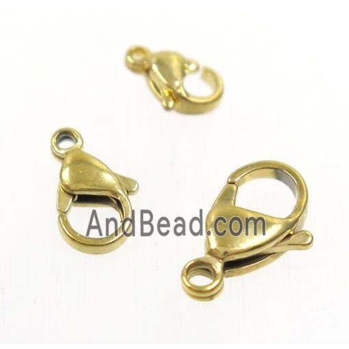 stainless steel lobster clasp, gold plated
