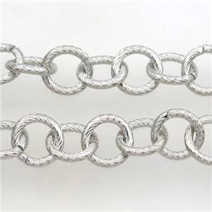 iron chain, platinum plated, approx 12mm dia