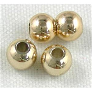 Gold Plated Copper Round Spacer Findings, Nickel Free&Lead Free, 3mm dia