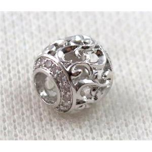 round copper bead paved zircon, hollow, platinum plated