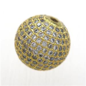 round copper beads pave zircon, gold plated