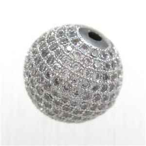 round copper beads pave zircon, platinum plated