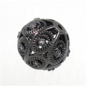 round copper beads pave zircon, black plated, approx 6mm dia