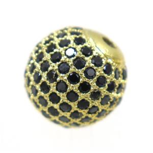 round copper beads paved black zircon, gold plated