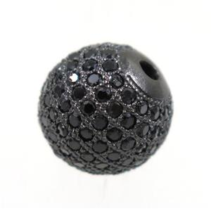 round copper beads paved black zircon, black plated