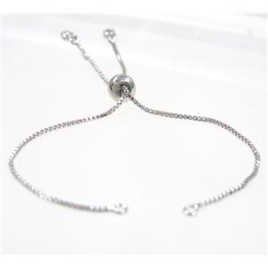 copper chain for bracelet pave white zircon, platinum plated, approx 12cm long, 1mm thickness