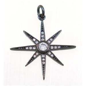 copper NorthStar pendant paved zircon, black plated