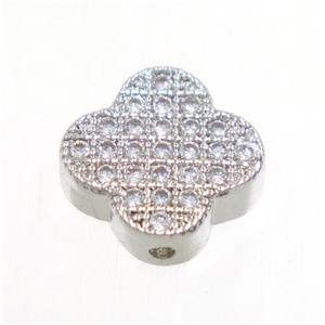 copper four-leaf Clover beads paved zircon, platinum plated