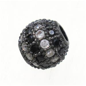 round copper bead paved zircon, black plated