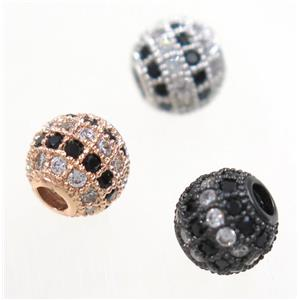 round copper beads paved zircon, mix color