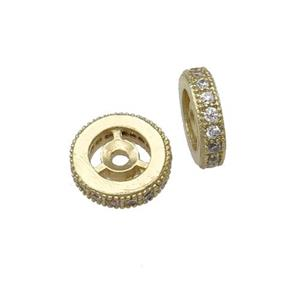copper spacer bead paved zircon, rondelle, gold plated