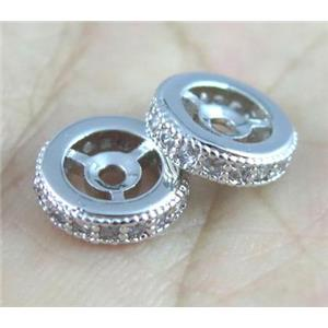 copper spacer bead paved zircon, rondelle, platinum plated