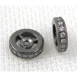 copper spacer bead paved zircon, rondelle, black plated
