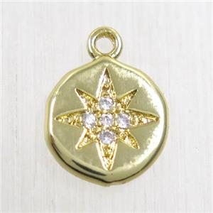 copper northstar pendant paved zircon, gold plated