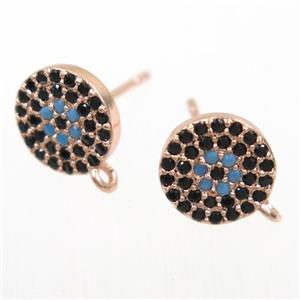 copper earring studs paved zircon