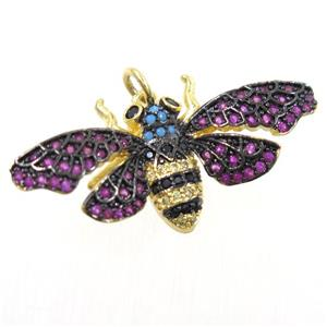 copper bee pendant paved zircon, gold plated