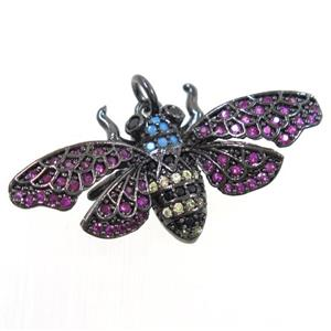 copper bee pendant paved zircon, black plated