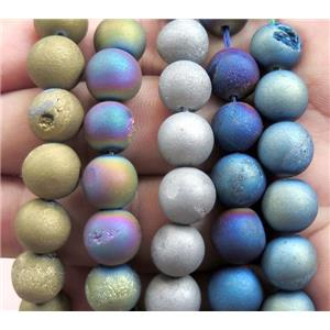 round druzy agate beads, electroplated, mix color