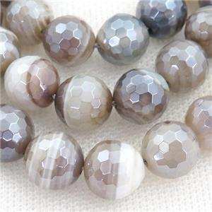 faceted round coffee striped Agate Beads, electroplated, approx 8mm dia