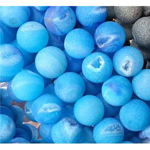 druzy Agate Stone beads, round, frosted, blue