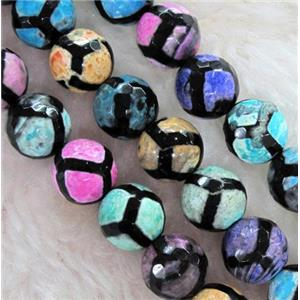 Agate Stone bead, faceted round, mixed color, football style