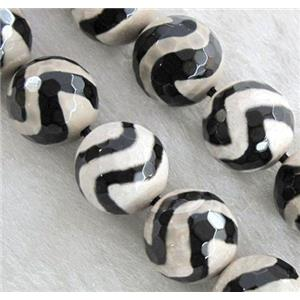 tibetan style agate beads, wave, faceted round