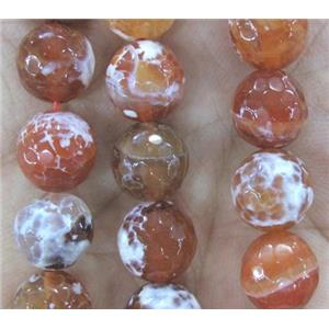 Fire Agate beads, orange, faceted round